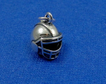 Football Helmet Charm - Sterling Silver Football Helmet Charm for Necklace or Bracelet