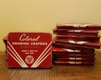 Vintage Binney and Smith Crayon tin-new York-based made in usa- pre crayola