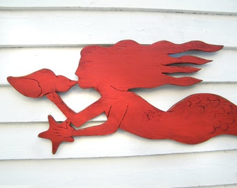 Mermaid Wall Decor Mermaid Wall Art Coastal Decor Mermaid Art Large Wood Mermaid Sign Beach House Decor Swimming Outdoor Decor