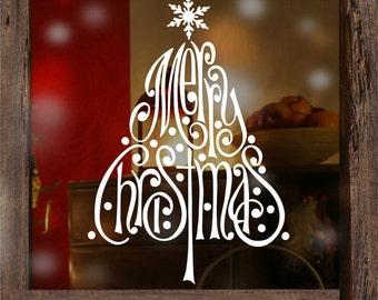 Merry Christmas Snowflake Tree Window Stickers decorations Xmas. Shop,
