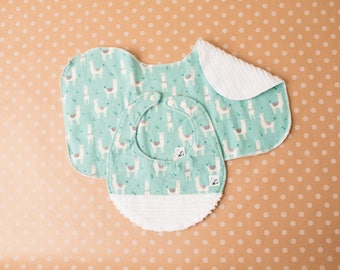 Llamas Animals Blue Bib Burp Cloth Gender neutral Newborn Baby gift set New parent Flannel Chenille Little Tommys Gray Baby girl Baby boy