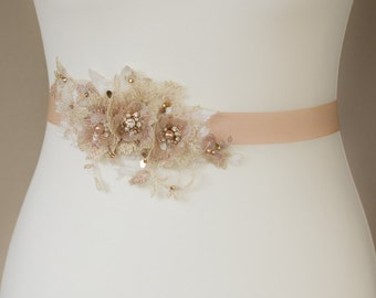 Wedding dress sash, Wedding belt, Rose Gold sashes belts, Lace belt, Flower bridal belt, Wedding sash belt