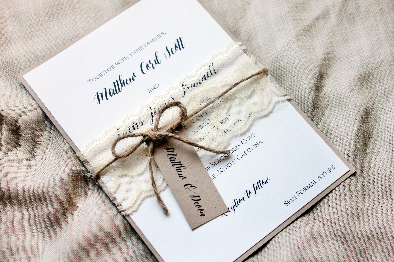 Rustic Wedding Invitation Sets: Lace Wedding Invitation Set Rustic Wedding Invitation