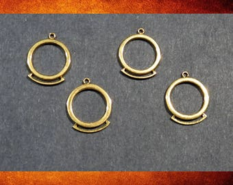 Components - 4 Gold ring pendants components with lower bar connector for jewelry. #FIND-007