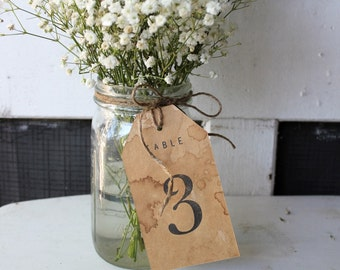 Table Number Tags / Rustic Distressed Aged Paper Numbers / Woodland Table Numbers / Kraft Paper Rustic Table Numbers / Table Centerpiece