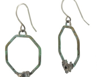 Brass Aqua Teal Patina Octagon Geometric Dangle Earrings