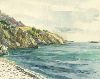 Seashore watercolor Original Painting, Seascape, Beach