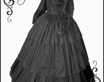 1800's Civil War Victorian Goth 3 tier Mourning Black Dress Gorgeous Gown