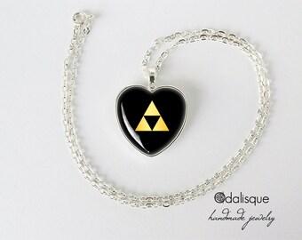 Legend of Zelda Triforce Necklace Zelda pendant heart pendant keyring keychain
