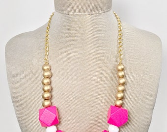 Chunky and Bright Geometric Necklace
