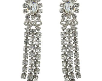 HQM Austrian Clear Crystal Silver Bow Three Tassel Drop Earrings (Clip-On)
