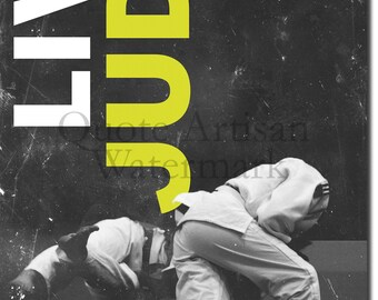 "Judo Motivational Poster 11 ""LIVE JUDO."" Original Art Print - Photo Gift Motivation Quote"