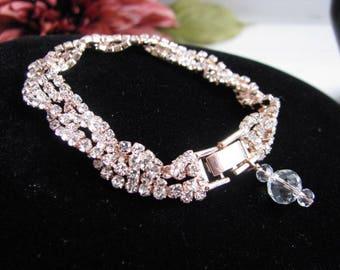 Wedding Bracelet, Rose Gold Tone Crystal Bracelet, Bridal Bracelet, Bracelet, Rose Gold, Rhinestone Jewelry, Bridal Jewelry