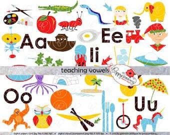 Teaching Vowels Clipart: Digital Image Set (300 dpi) School Teacher Clip Art Early Reading Picture Alphabet