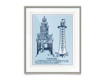 "Coastal Art- Coastal Mom Gifts- Nautical Decor- Lighthouses Print- 30"" x 24"" Coastal Decor Beach Decor- Lighthouse Decor"