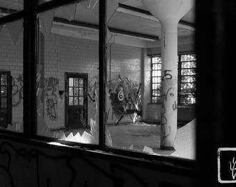 B&W #Photograph, #abandoned, #haiku, broken, graffiti, Kings Park Psych, halloween, photo print, wall art, home decor, Long Island, 6 Ball