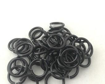 """100 Black 16 gauge 5/16"""" (inner diameter) anodized aluminum jump rings Saw Cut. 16g aluminum rings"""