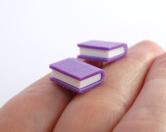 Miniature purple book post earrings book ear studs stud earrings tiny reading book lover gift present geeky nerdy