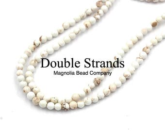 "Two 15.5"" strands, White Magnesite  Beads 4mm"