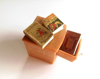 Miniature books, one twelfth scale, tiny book, dollhouse nursery, set of 3 classic story books, mini book, dollhouse book bundle, 12th scale