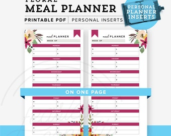 Meal Planner Printable, Personal Planner Printable, Personal planner inserts, Weekly Meal Planner, Personal Printable INSTANT DOWNLOAD