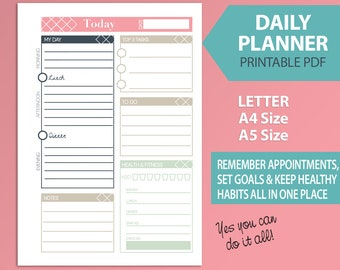Printable Daily Planner, Stylish Diary Organiser, To do list in various sizes, INSTANT DOWNLOAD