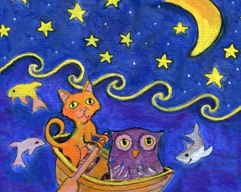"Owl and Pussycat art card, 5"" x 5"" blank card"