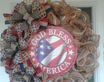 God Bless America, mesh wreath, deco wreath, red white and blue, 4th of July, Fourth of July, holiday, patriotic