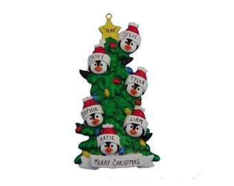 6 Penguin Family Personalized Ornament - Family Ornament for Six - Family Christmas Ornament