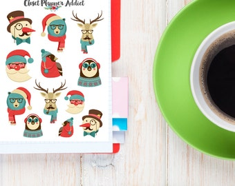 Hipster Christmas Planner Stickers | Cute Animals Stickers | Hipster Stickers | Christmas Stickers | Funny Animals | Santa Claus (S-179)