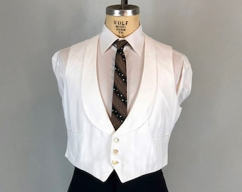 "Vintage 1920s Mens Vest | 20s White Pique Cotton Formal Waistcoat w/ Two Pockets & Pearly MoP Buttons by ""Brooks Brothers""  