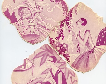 FRENCH Lot of (3) Die Cut Cards FASHIONABLE LADIES Art Deco Prints More Available 4933
