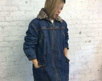 vintage 80's denim and leopard railroad jacket / quilted stitch and leather trim jean jacket / vintage denim anorak parka
