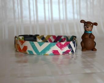 Blue Dog Collar, Chevron Print Dog Collars, Dog Collars, Custom Dog Collar, Pet Collars, Adjustable Dog Collar,Gifts for Pets, Seth Collar