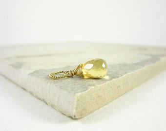 Sm - 14k Gold Pendant - November Birthstone Jewelry - Natural Citrine Jewelry - Yellow Citrine Pendant - Light Yellow Pendant - Gemstones
