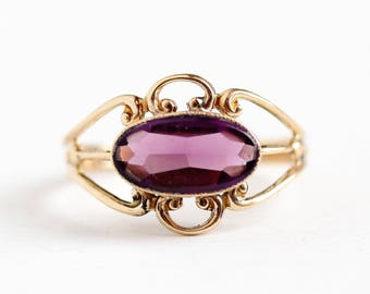 Simulated Amethyst Ring - Vintage 10k Rosy Yellow Gold Purple Oval Glass Stone - 1940s Victorian Revival Filigree Size 8 1/4 Fine Jewelry