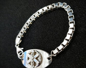 LIMITED TIME SALE Original Sterling Silver Medical Alert Bracelet - Oval and Unique - Choice of Fonts, Text, Clasp Arrangment - Thick Box Ch