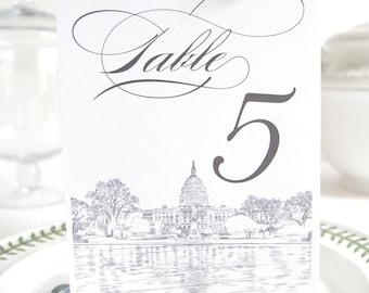 Washington DC Skyline Table Numbers (1-10)