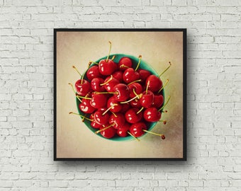 Cherries Food Photograph - Digital Download - Cherry Print - Bowl of Cherries Kitchen Decor - Food Photography Instant Download