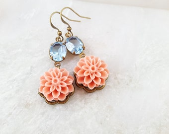 Peach Earrings, Blue Crystal Earrings, Blue and White Flower, White Chrysanthemum, Blue and Peach Flower Wedding, Blue and Orange, E8500