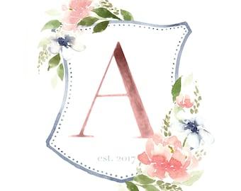 Watercolor Monogram Crest - Family Wedding Crest - Personalized Watercolor Crest - Floral Crest - Watercolor Flowers - 8x10 monogram print