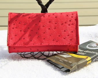 Tobacco pouch in pink ostrich skin leather - handmade