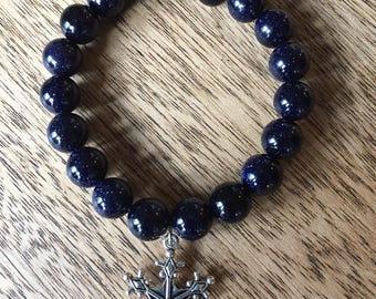 Blue Goldstone Elastic Bracelet