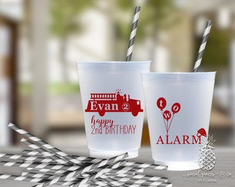 Fire Engine Truck Party | Customizable Frosted Birthday Cups | social graces Co.