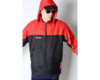 LOTTO Vintage 90s Black Red Shell Rain Coat Size S 2_51117_M