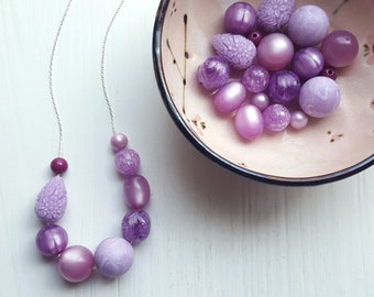 purple just doesn't fit into my life - necklace - spring jewelry - easter - lavender, lilac, grape - monochromatic jewelry