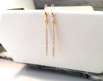 Gold Pave Long Stick Bar Dangle Earrings, Silver CZ Stick Dangle Earrings, Bridal Earrings, Bohemian Dangle Earrings