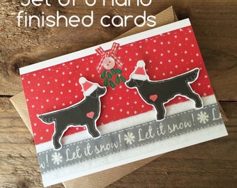 Flatcoated Retriever christmas card, set of 5 hand finished cards, flatties under the mistletoe hand cut christmas card, holiday card