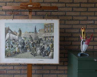 Vintage  Old Print on cardboard The Market  School Chart Lithograph