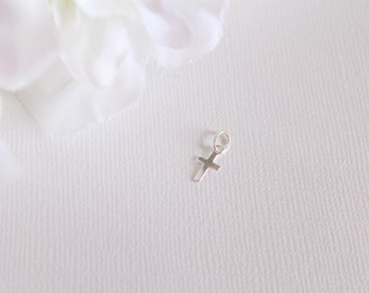 Sterling Silver Cross Charm Add On, Petite 5 x 7mm Charm for Jewelry, Bracelet, Necklace Add a Charm